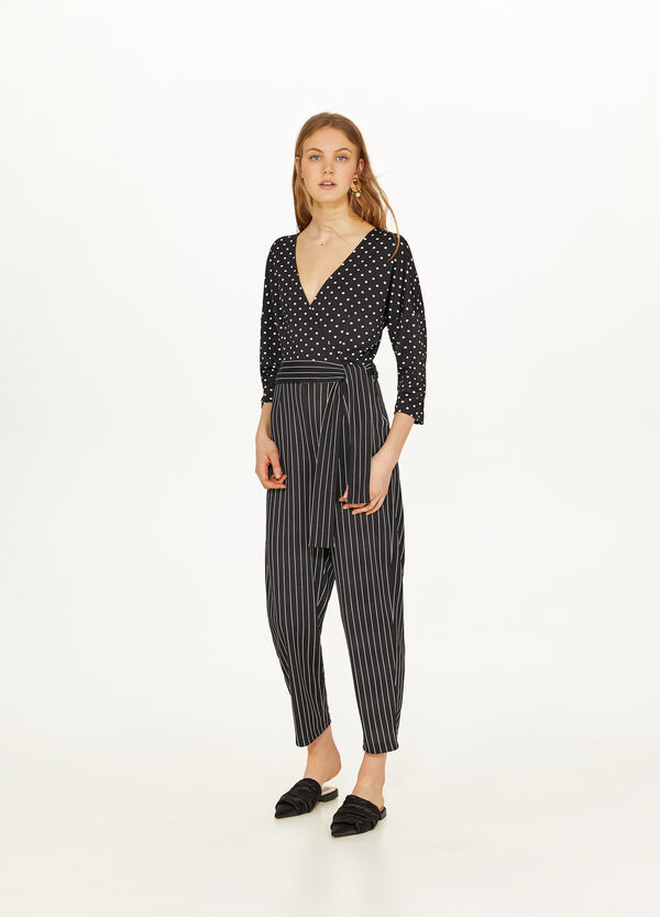 Stretch jumpsuit with striped and polka dot pattern