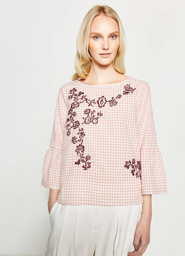 Check blouse with floral embroidery | OVS