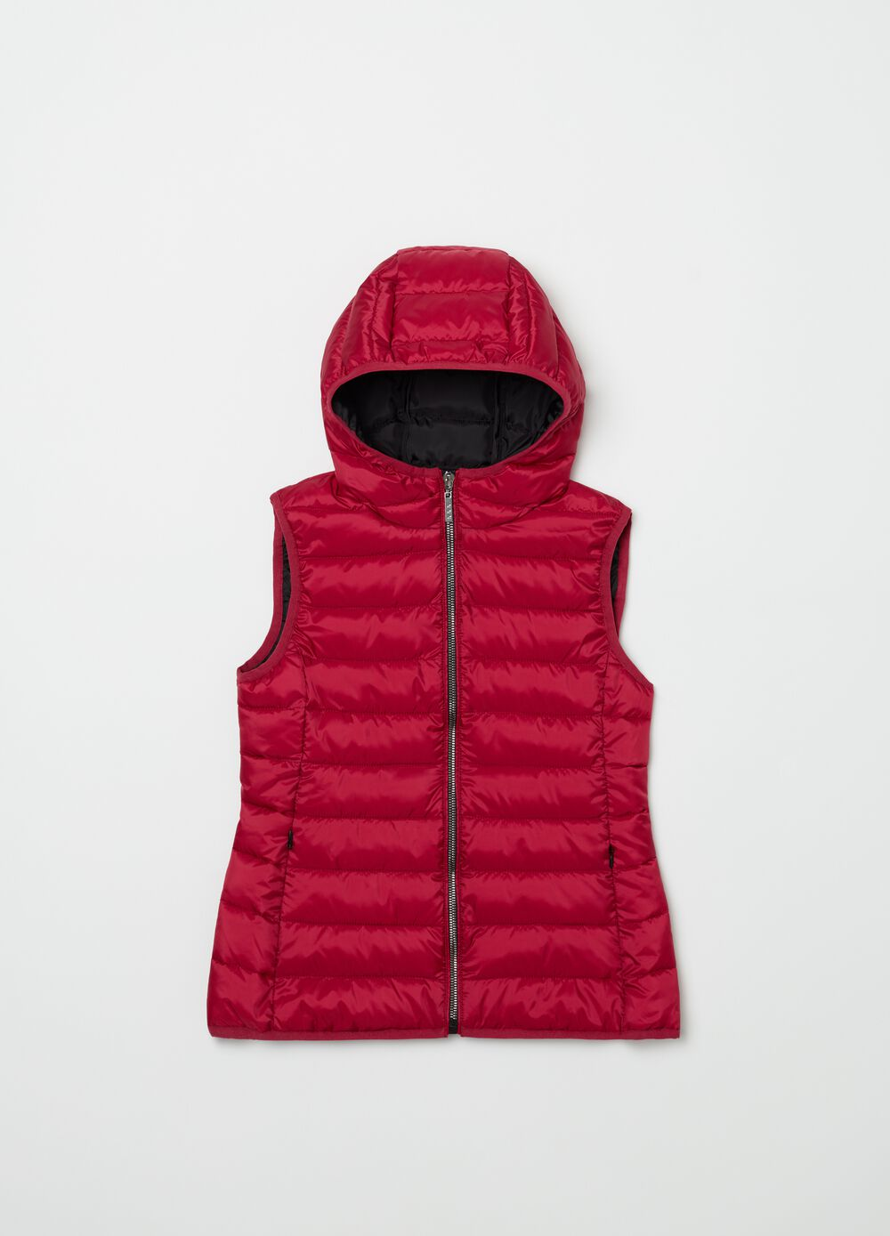 Padded gilet with hood, pockets and zip