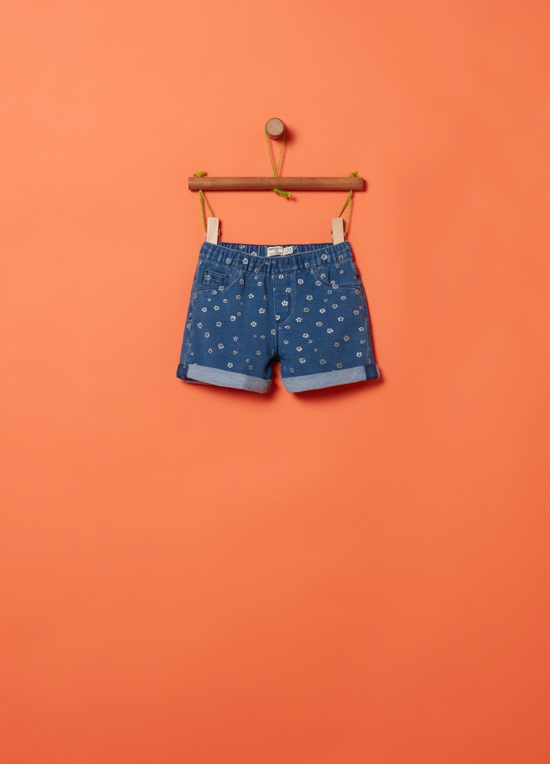 Shorts in French Terry denim fantasia image number null