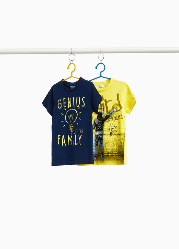 Two-pack T-shirts with lettering and writer