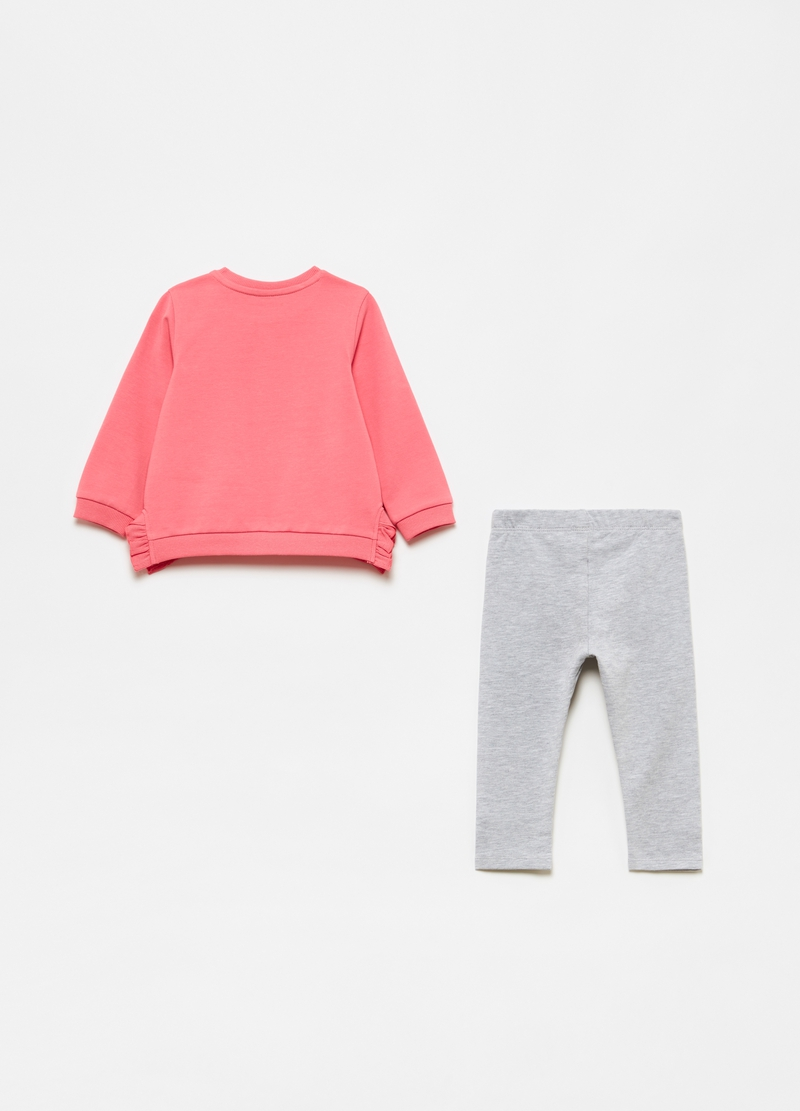 Jogging set with sweatshirt with frills and leggings image number null