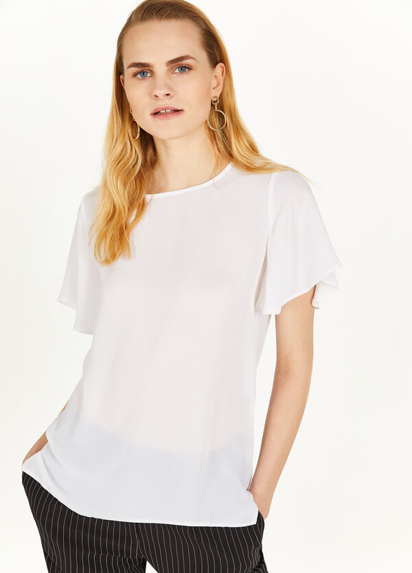 Crew neck blouse with short sleeves