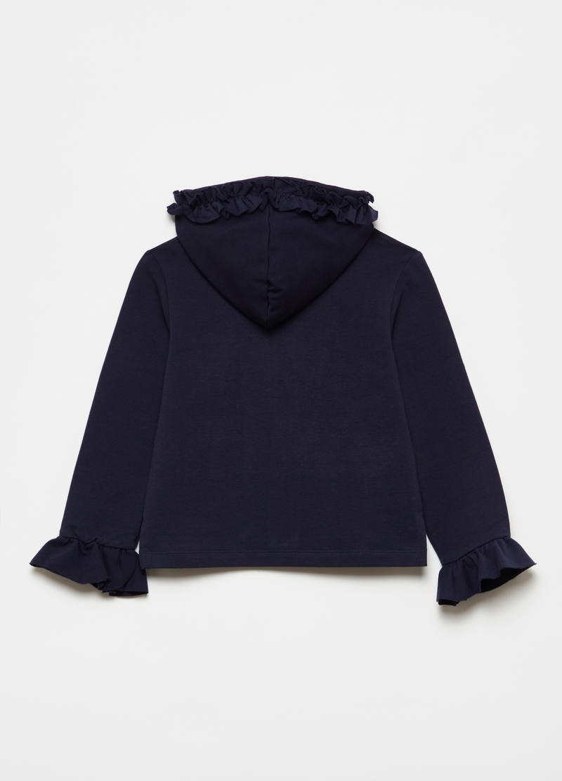 Full-zip sweatshirt with hood and frills image number null