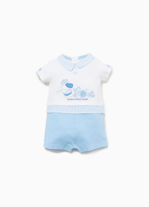 Striped faux layered cotton romper suit