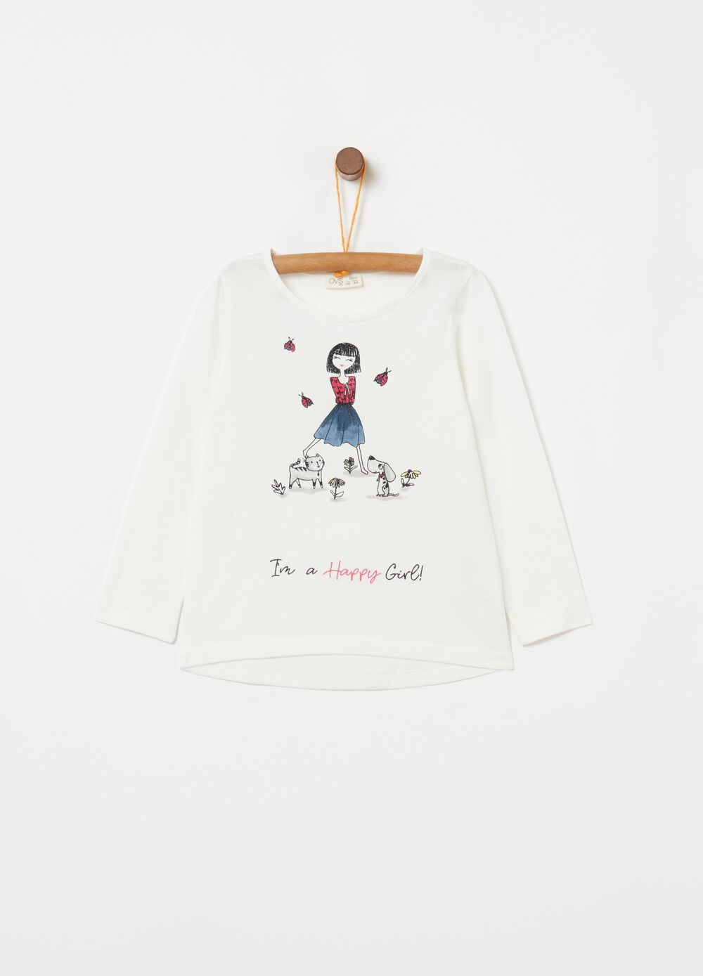 T-shirt in cotone stampa glitter bambina