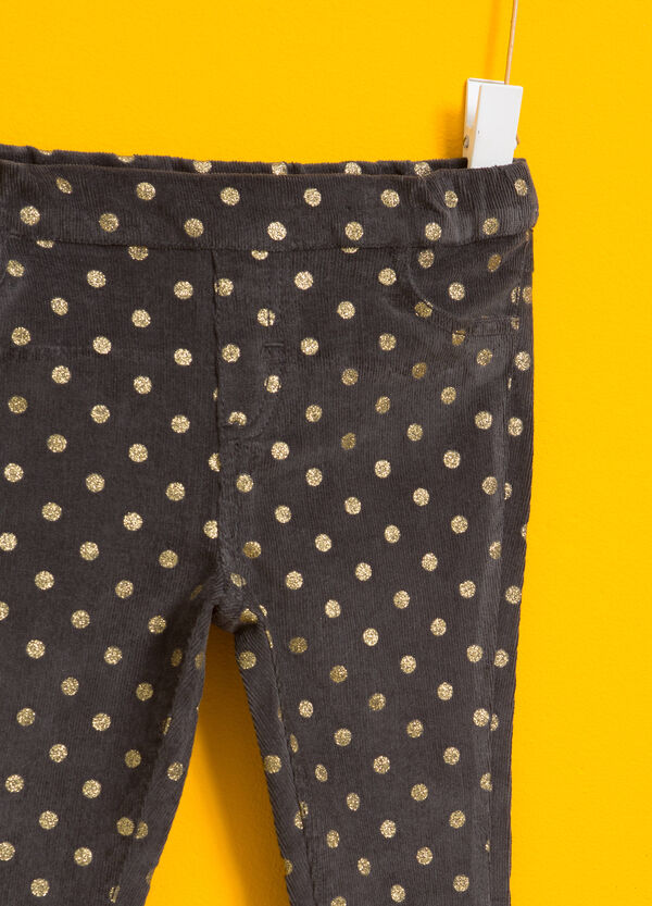 Polka dot stretch velour trousers