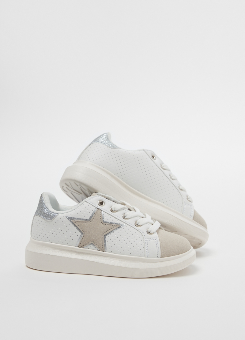 Two-tone sneakers with embroidery image number null