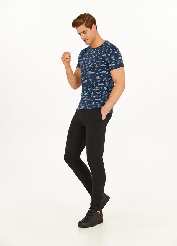 Cotton T-shirt with all-over marine print
