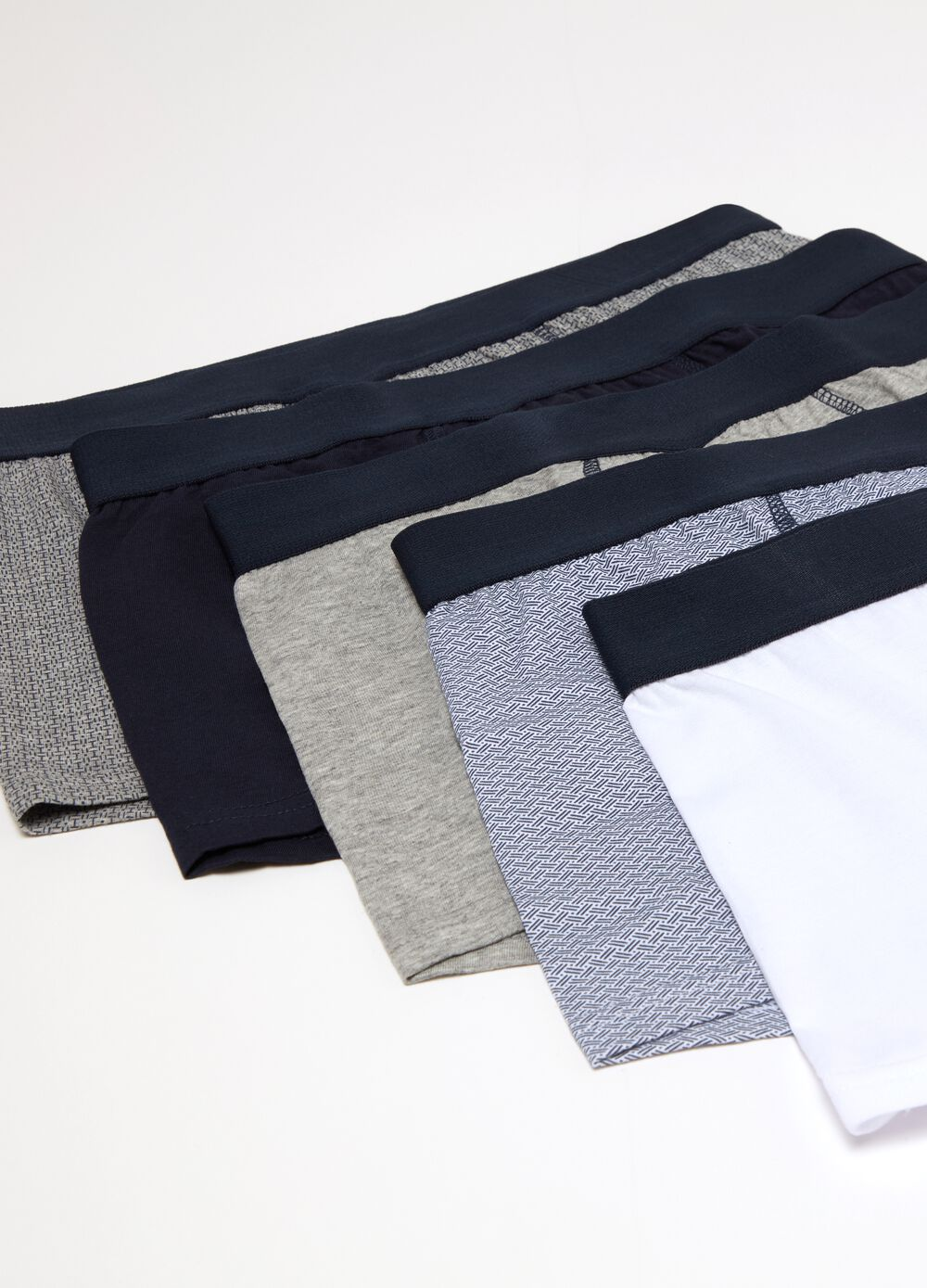 Five-pack stretch cotton boxers with pattern