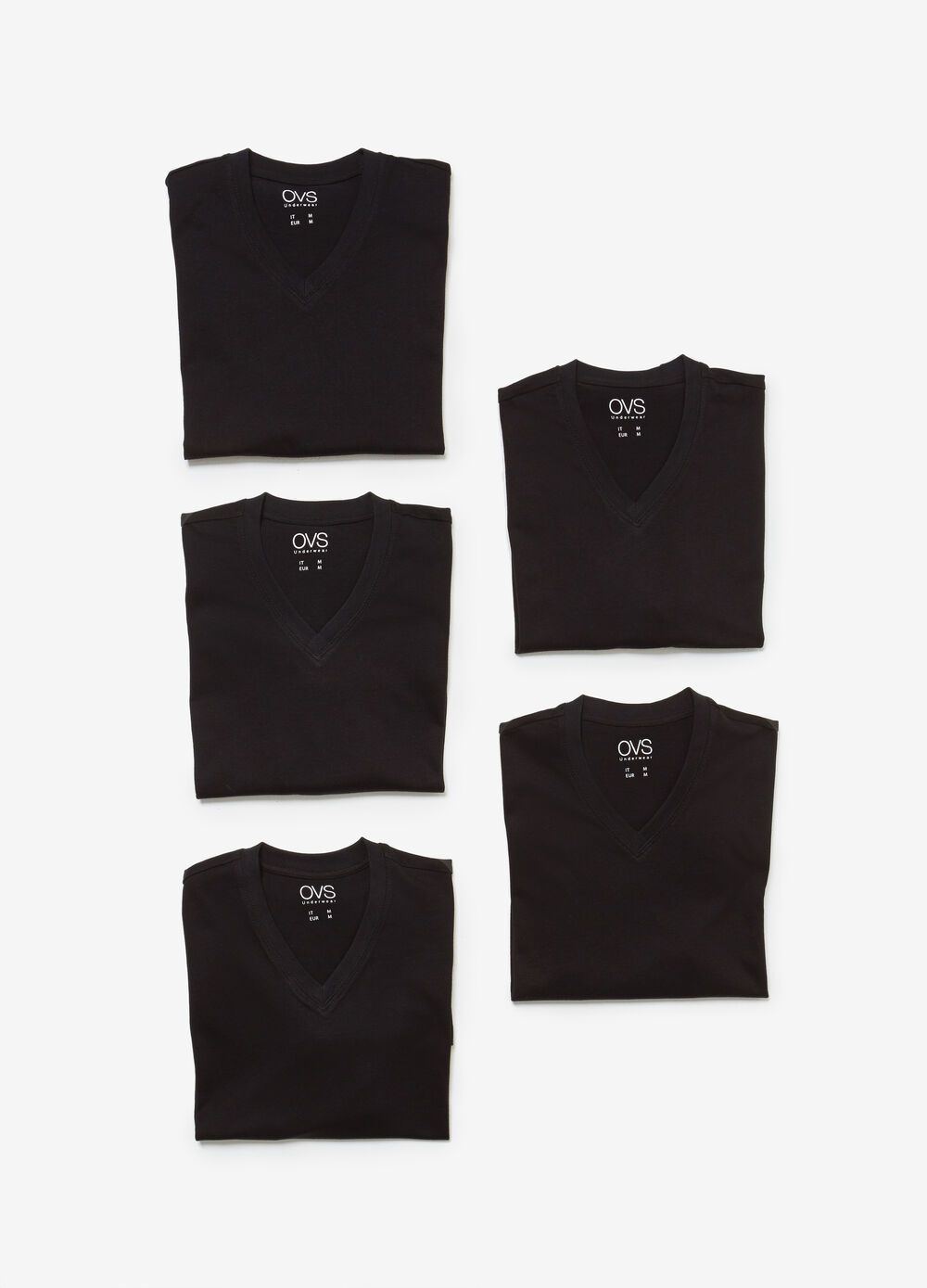 Five-pack cotton under shirts with V neck