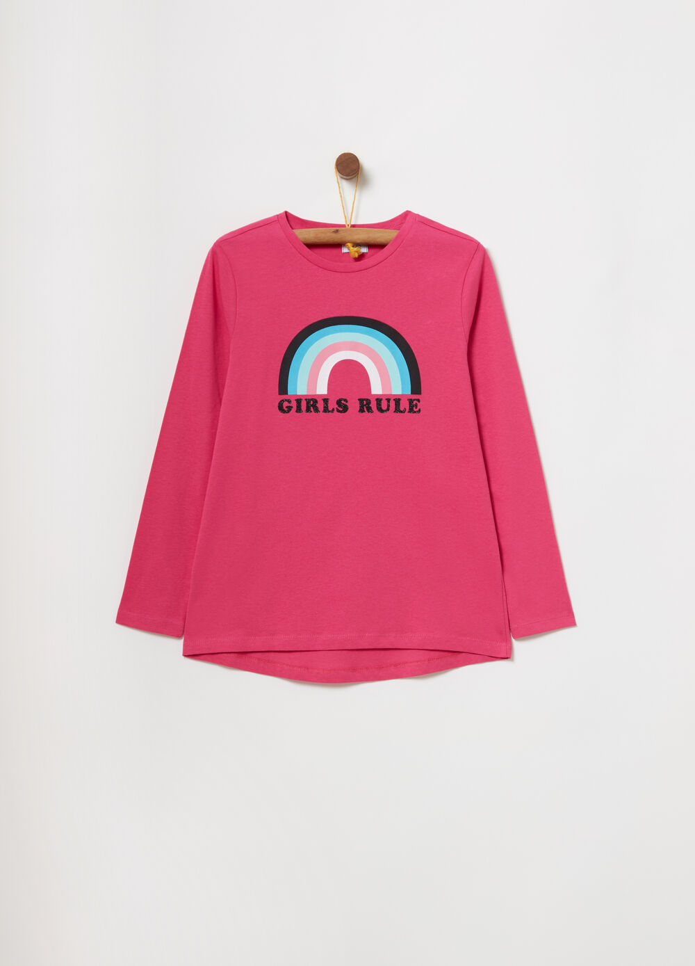 T-shirt con stampa arcobaleno e lettering