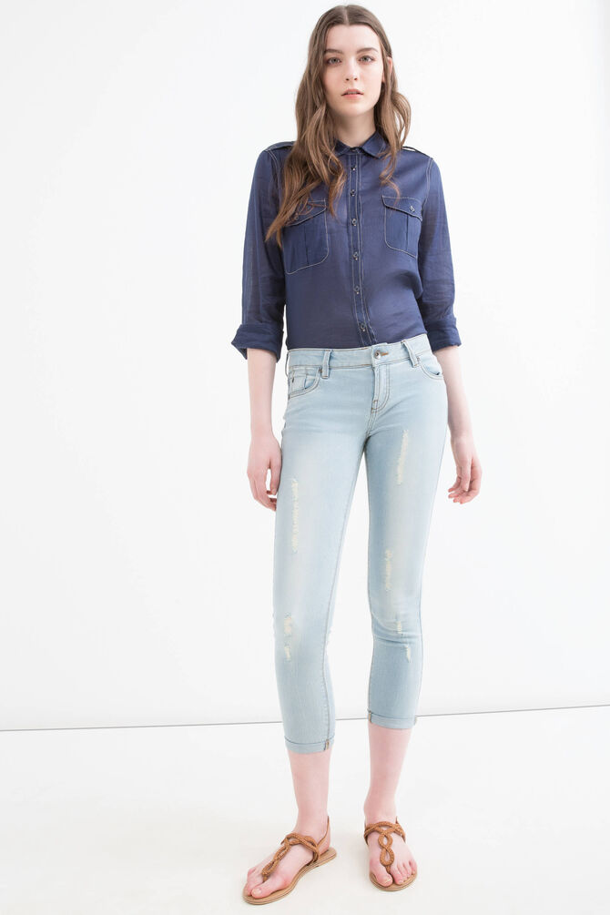 Skinny fit stretch jeans with rips