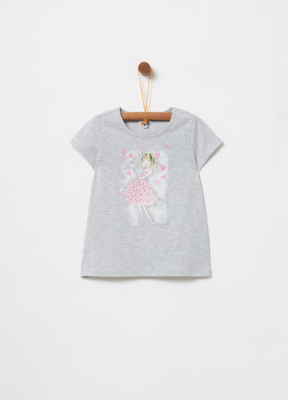 T-shirt mélange con stampa glitter