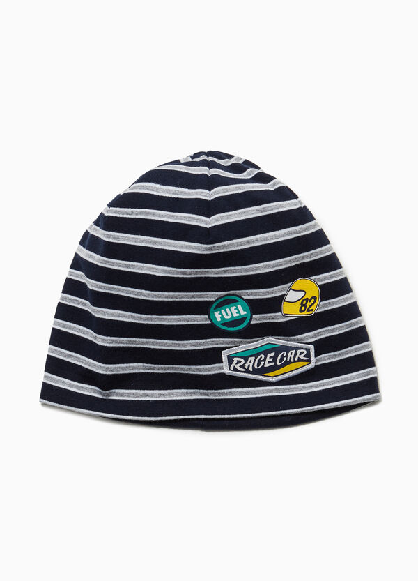 Striped jersey beanie cap