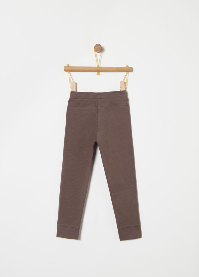 Stretch fleece trousers with print