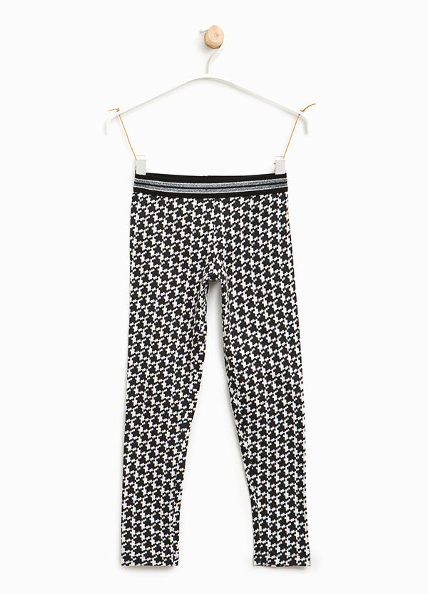Hounds' tooth cotton leggings | OVS