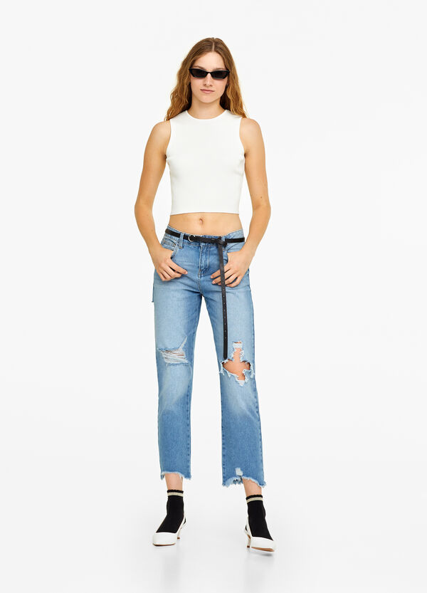 Jeans girlfriend used con strappi