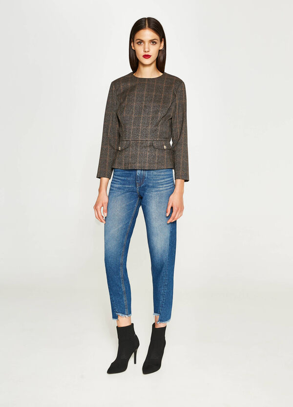 Stretch viscose blouse with check pattern | OVS