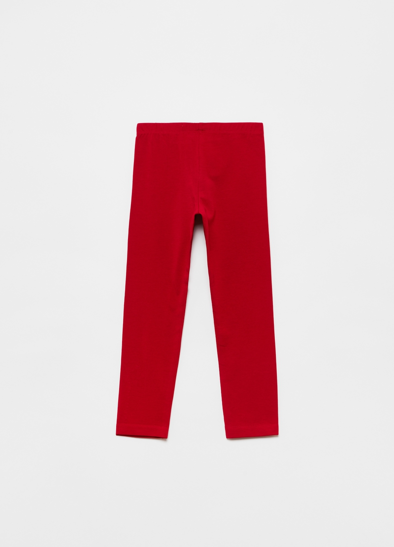 Solid colour stretch leggings image number null