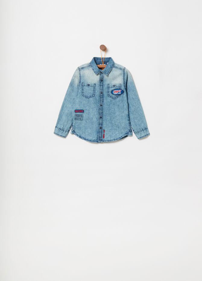 Lightweight denim shirt with embroidery and print