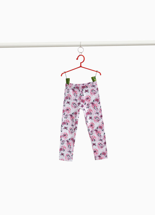 Stretch three-quarter leggings with butterflies