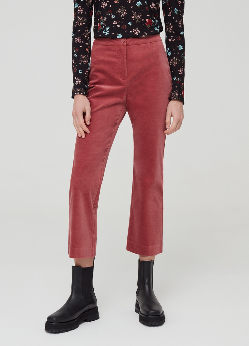 Stretch velvet trousers with high waist image number null