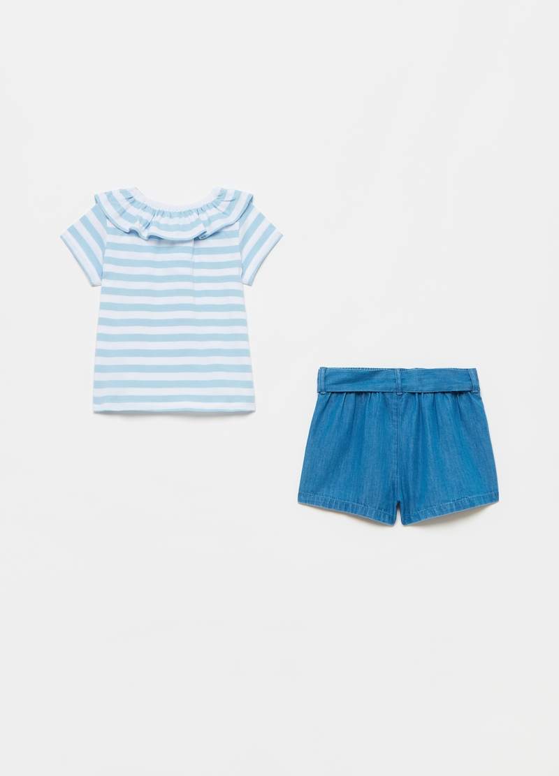 Set t-shirt a righe e bermuda in denim image number null