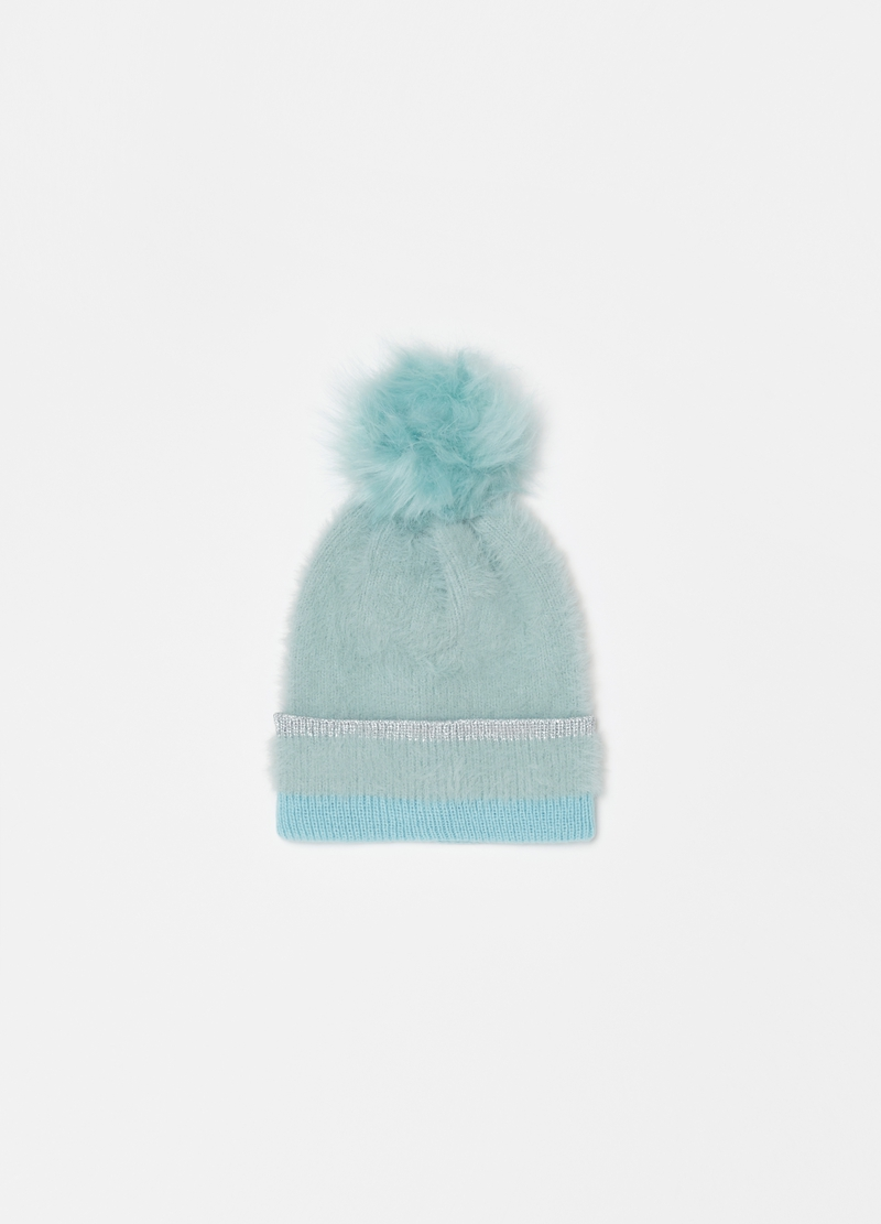 Faux fur hat with lurex detail image number null