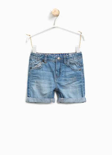 Worn-effect denim Bermuda shorts