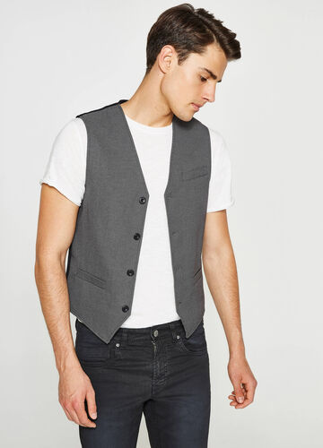 Gilet in cotone e viscosa stretch a pois