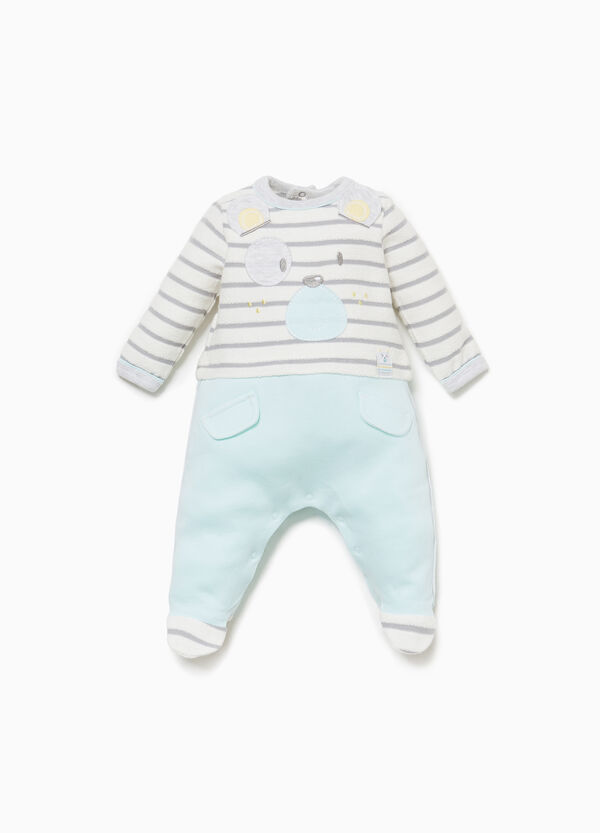 Striped onesie with teddy bear patch