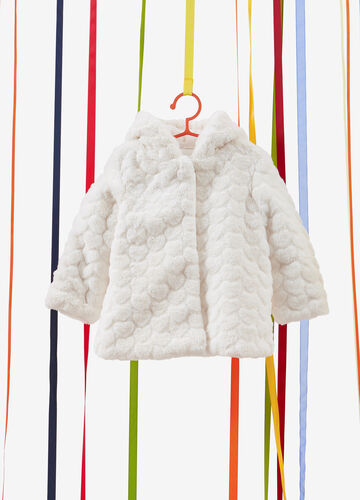 Heart weave faux fur jacket