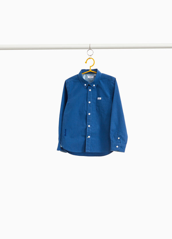 Micro check shirt in 100% cotton