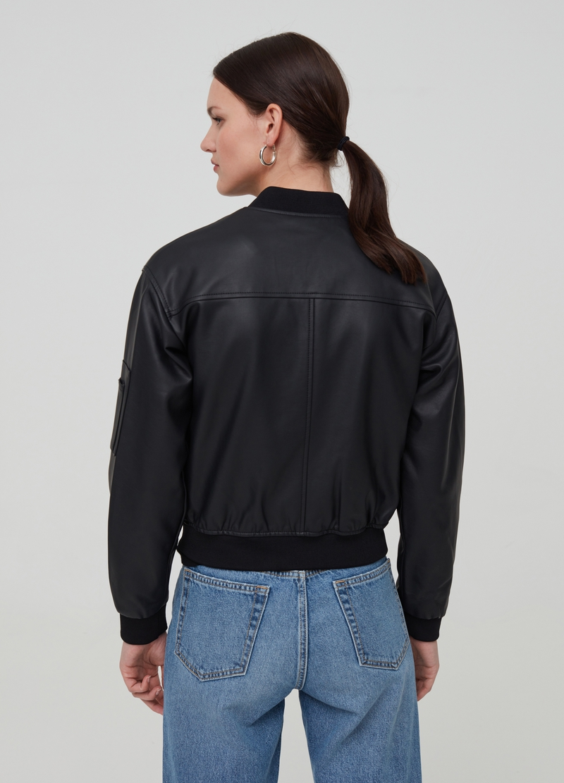 Solid colour bomber jacket in faux leather image number null