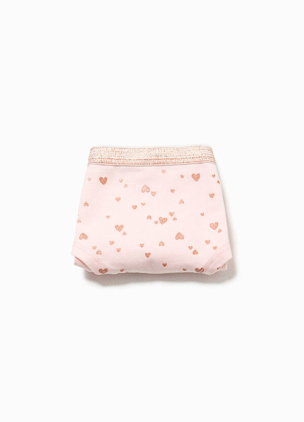 Organic cotton French knickers with hearts | OVS