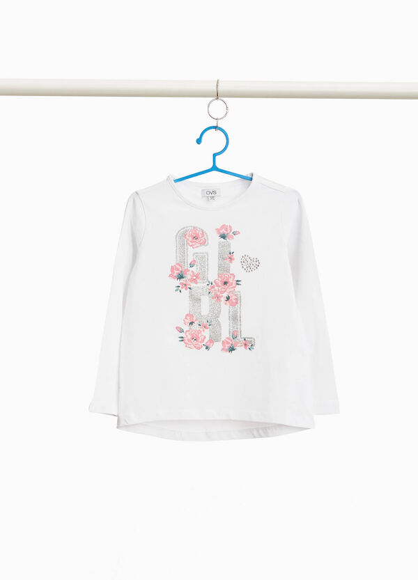Stretch cotton T-shirt with floral lettering