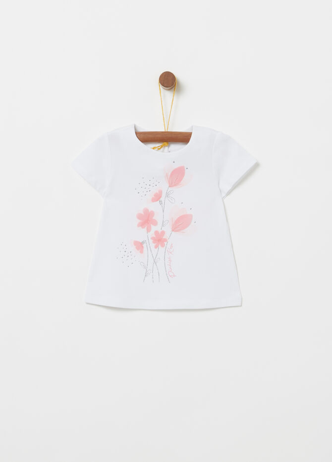 T-shirt in jersey stampa glitter con strass