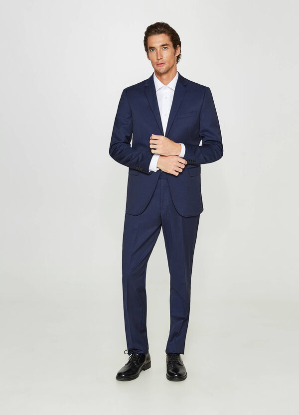 Regular-fit suit in stretch wool blend | OVS