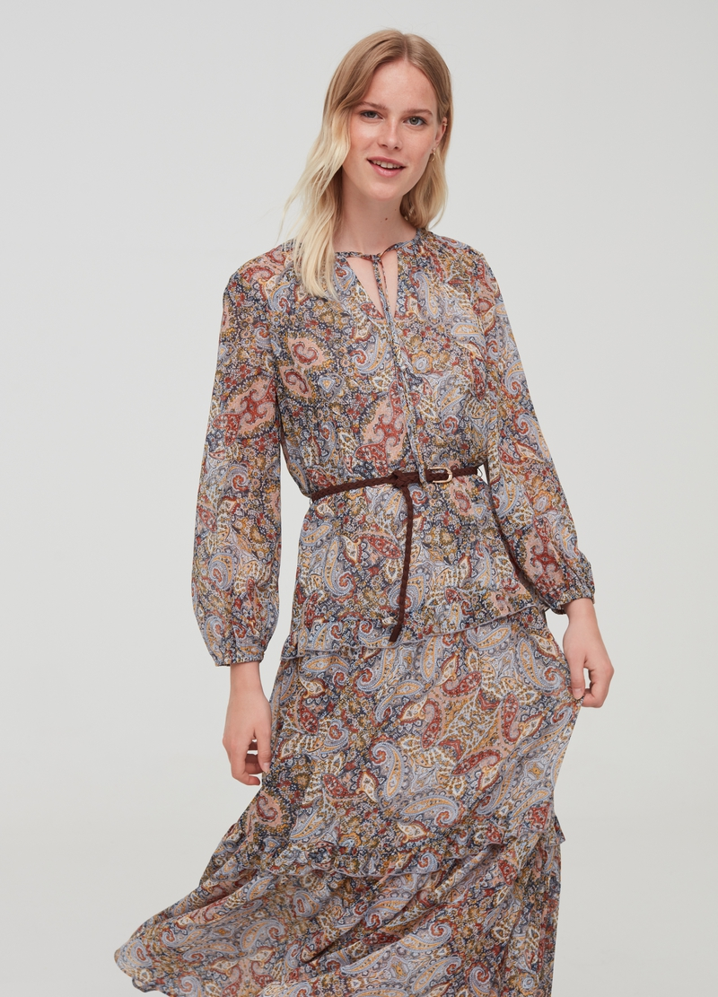 Dress with flounces and paisley pattern image number null