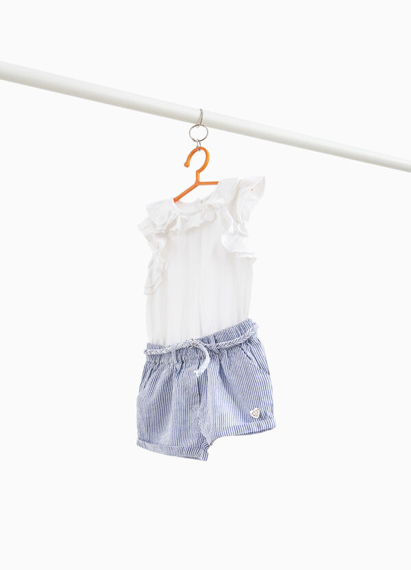 Striped romper suit in 100% cotton jersey