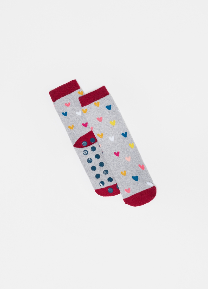 Mélange slipper socks with small hearts pattern image number null