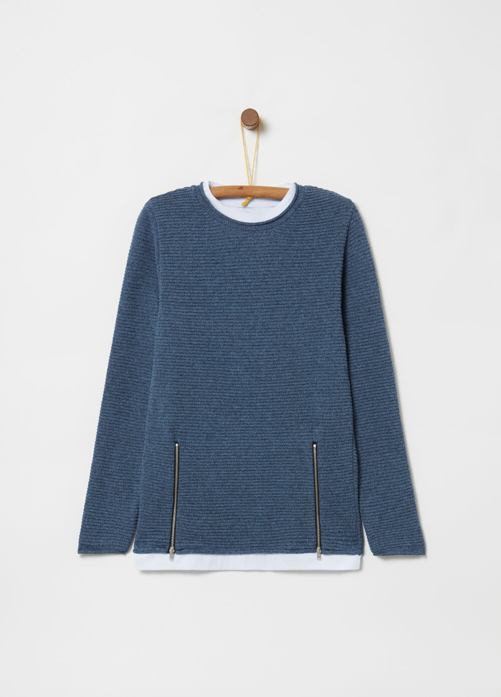 Mélange pullover with zip
