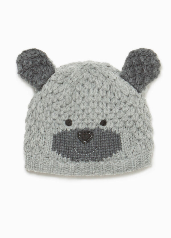 Knitted beanie cap with ears