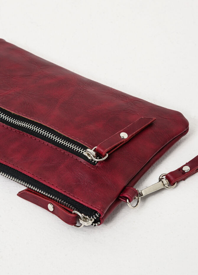Solid colour clutch with zip