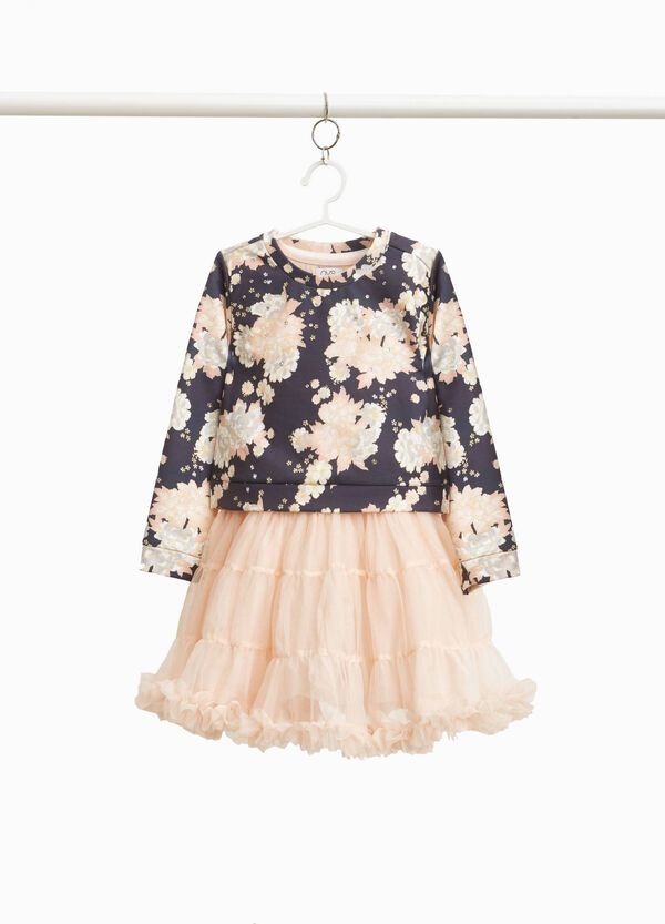Floral dress with tulle skirt