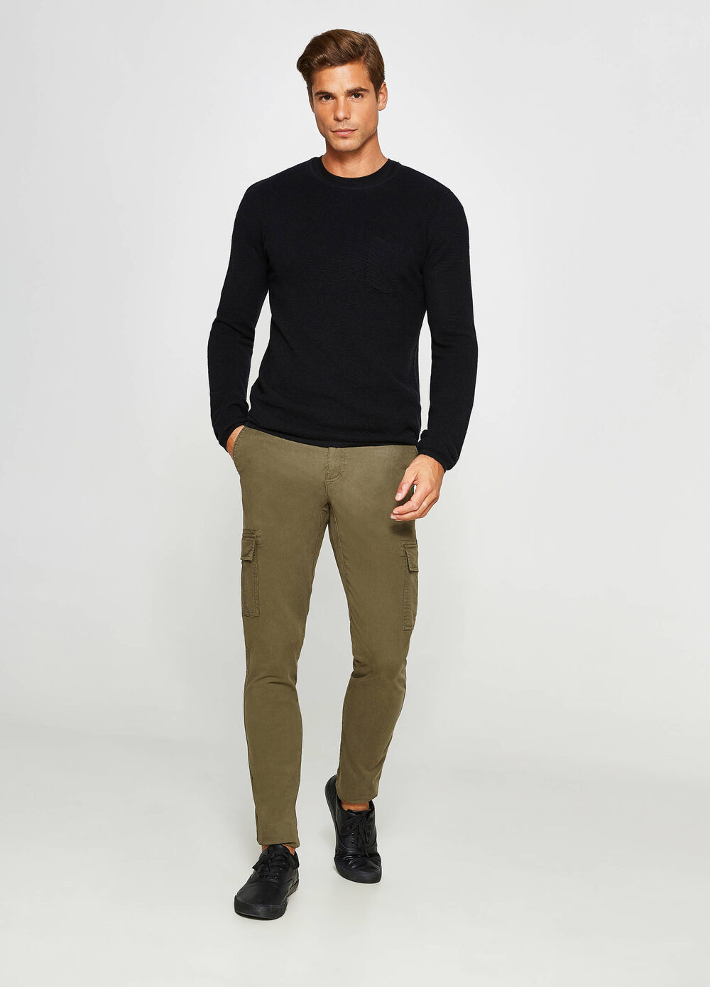 Pantaloni chino slim fit stretch cargo