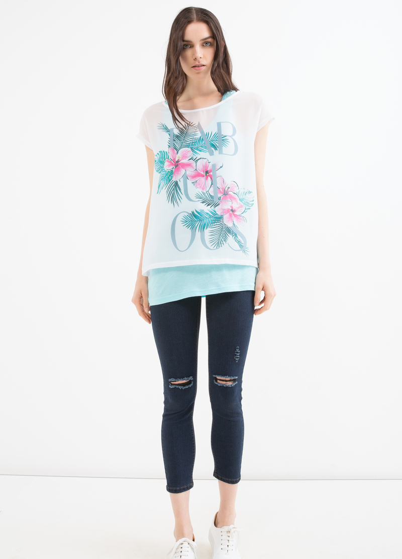 Cotton blend printed T-shirt image number null