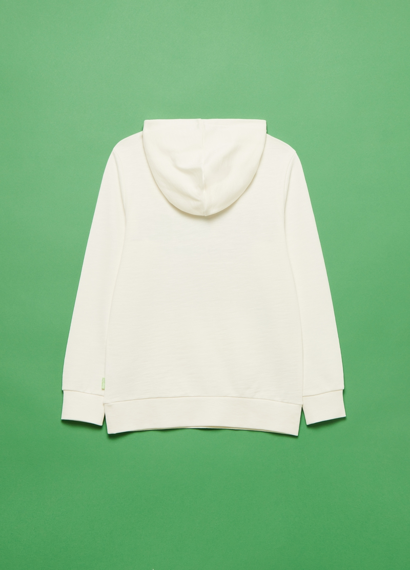 Cotton sweatshirt with hood and embroidery image number null
