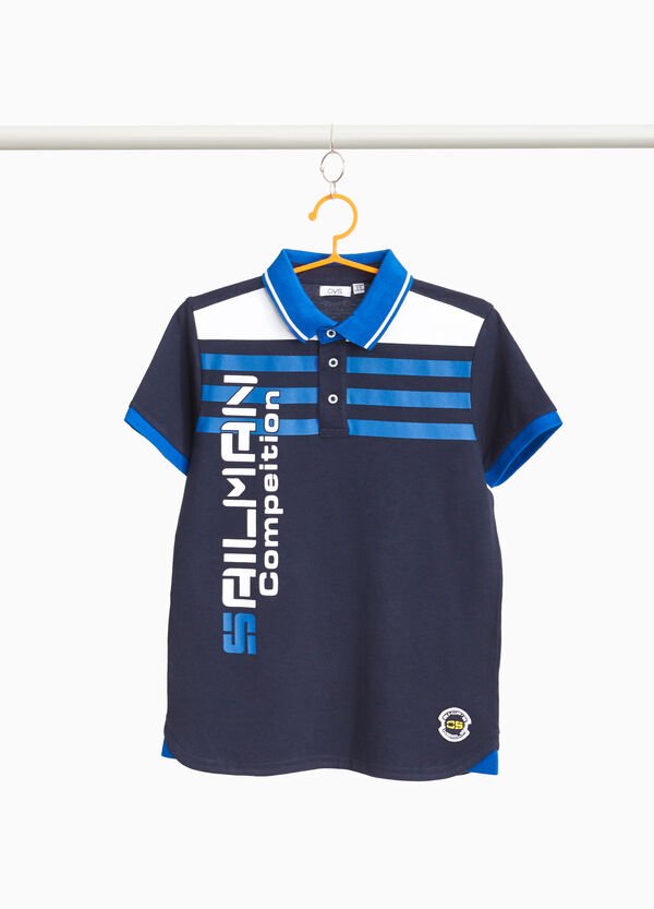 Cotton polo shirt with striped pattern and lettering